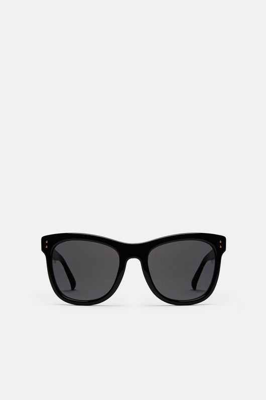 Angular Style Classic Sunglasses - Black/Yellow Gold/Solid Grey