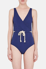 Yasmin Drawstring Maillot - Faded Navy Seersucker