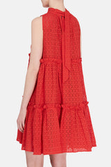 Mini Ruffle Tier Dress - Tomato Eyelet