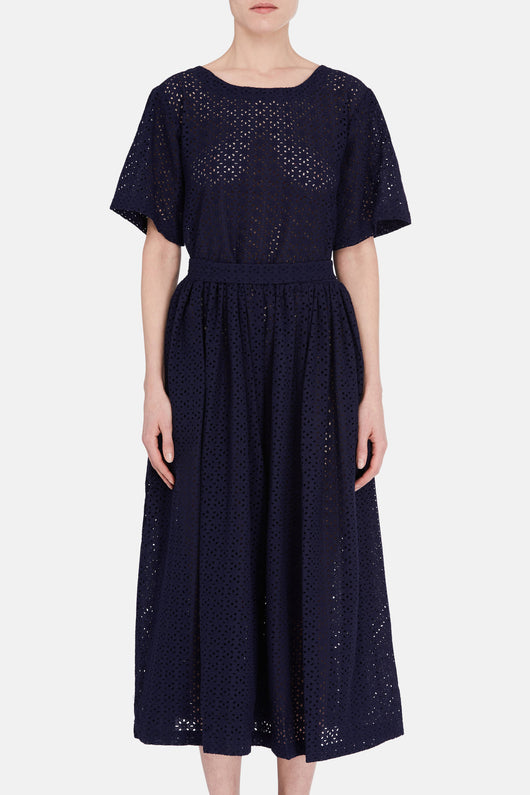 Shift Dress - Navy Eyelet