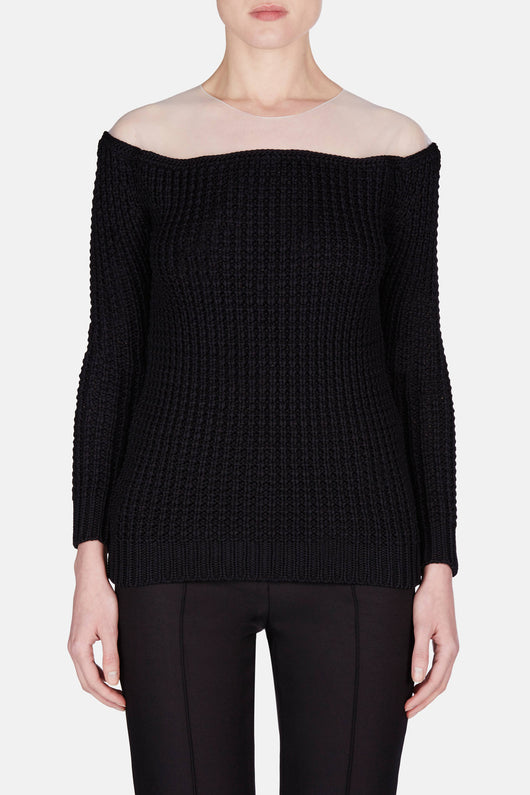 Heavy Gauge Rib Sweater - Black