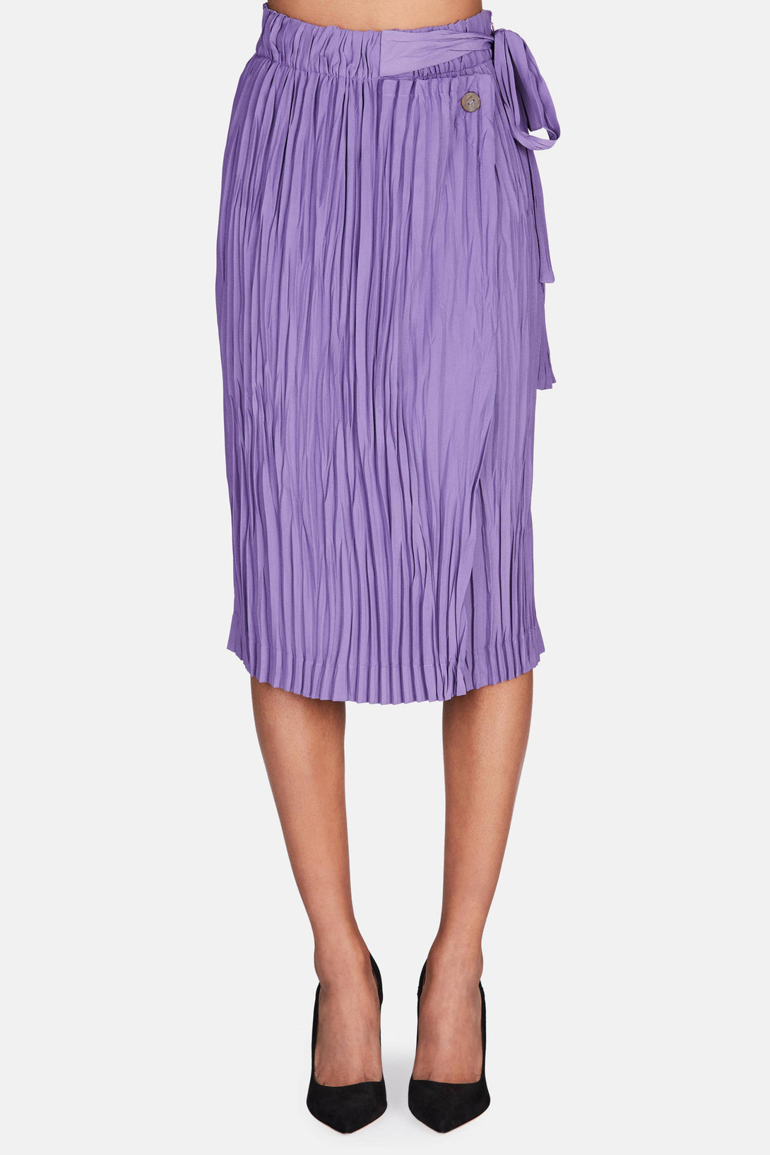 Pleated Wrap Skirt - Glycine