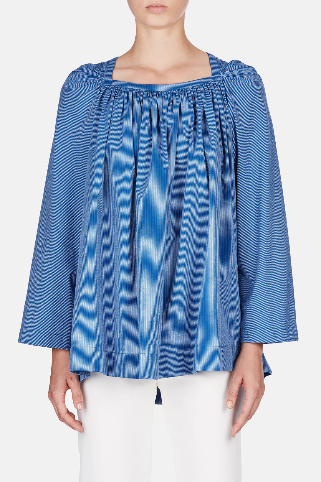 Square Collar Top - Bright Blue