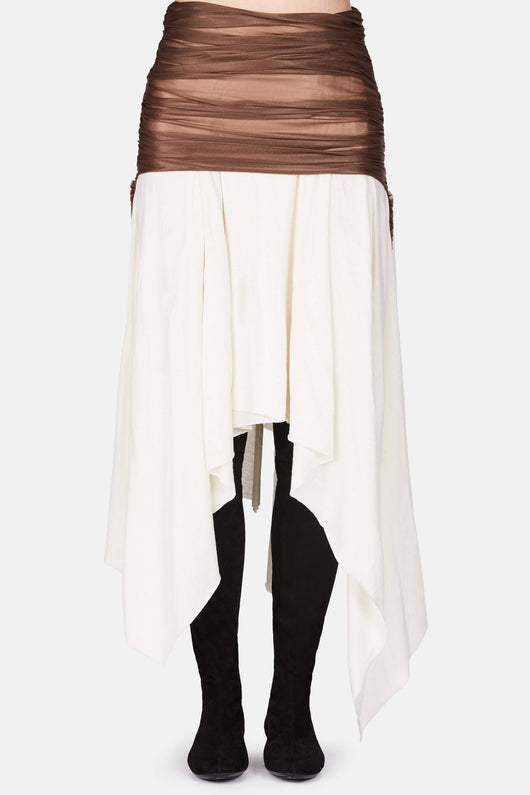 Skirt with Draped Top Layer - Calico