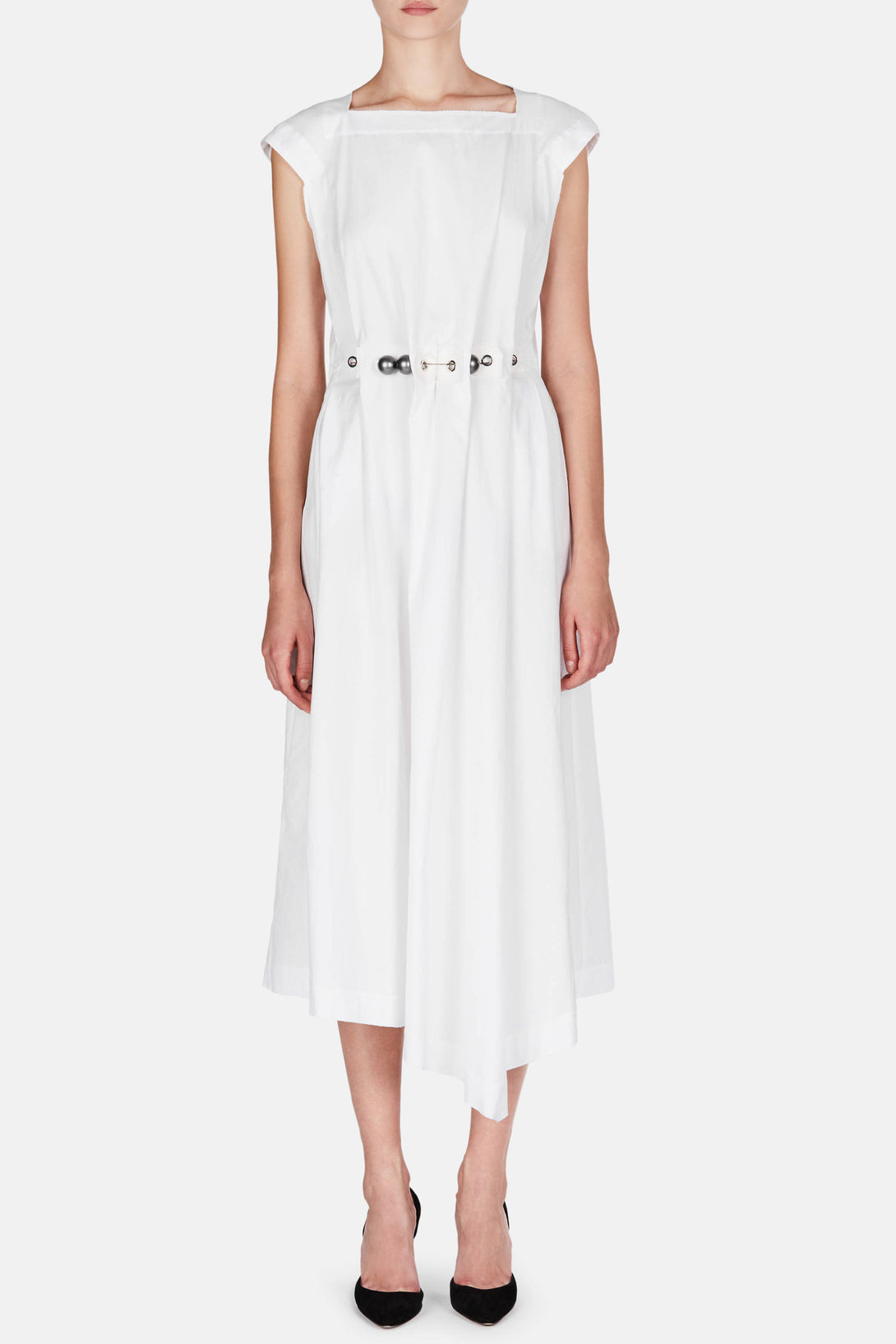Balls & Chain Cap Sleeve Dress - White