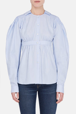 Shirt with Smocked Detail - Baby Blue
