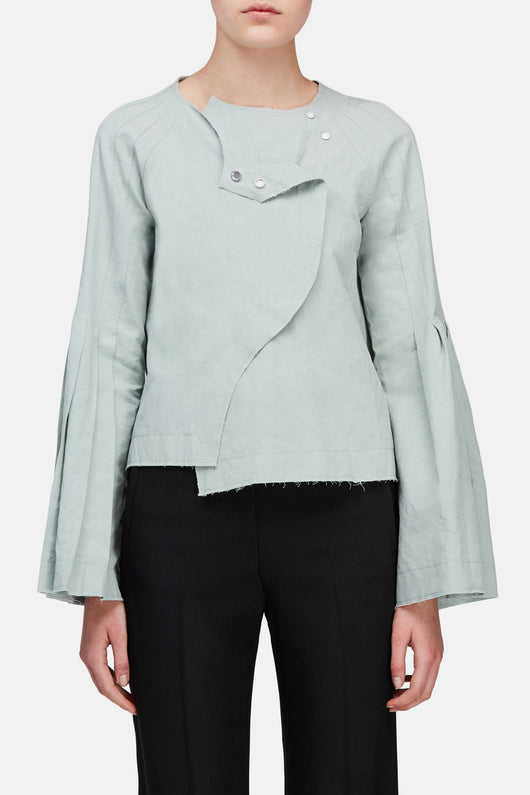 Cutaway Jacket with Pleated Sleeves - Sage