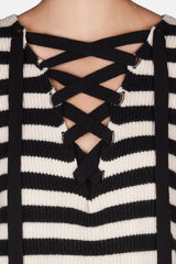 Lily Lace Up Slit V-Neck Sweater - Black/Ivory