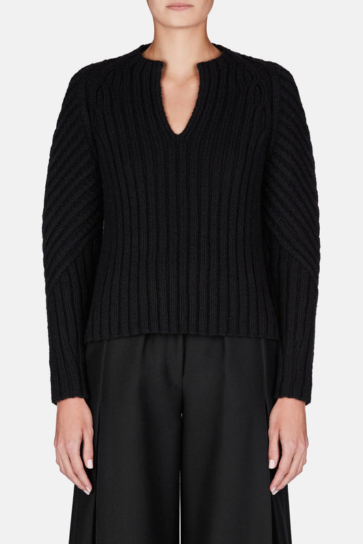 Conley Handknitted LS V-Neck Sweater - Black