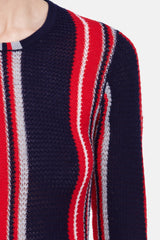 Lucan Stripe Crewneck - Navy w/Red Multi