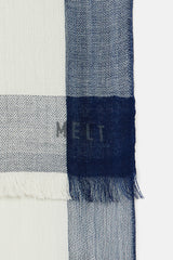 Krishna Border Scarf - White/In the Navy