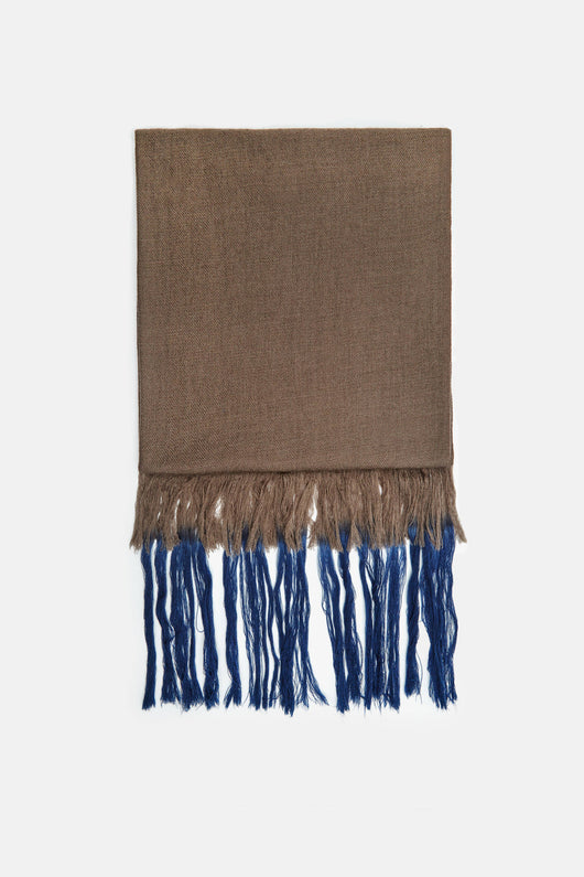 Kumal Kumari Bahini Tie Dye Fringe Scarf - Mud/In the Navy