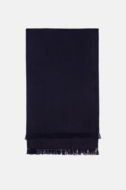 Deepak Maxi Herringbone Scarf - In the Navy