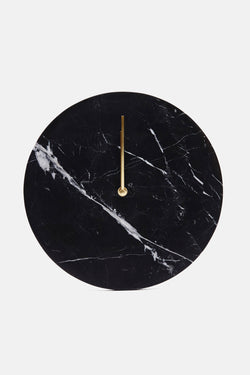 Black Marble Wall Clock with Brass Hands