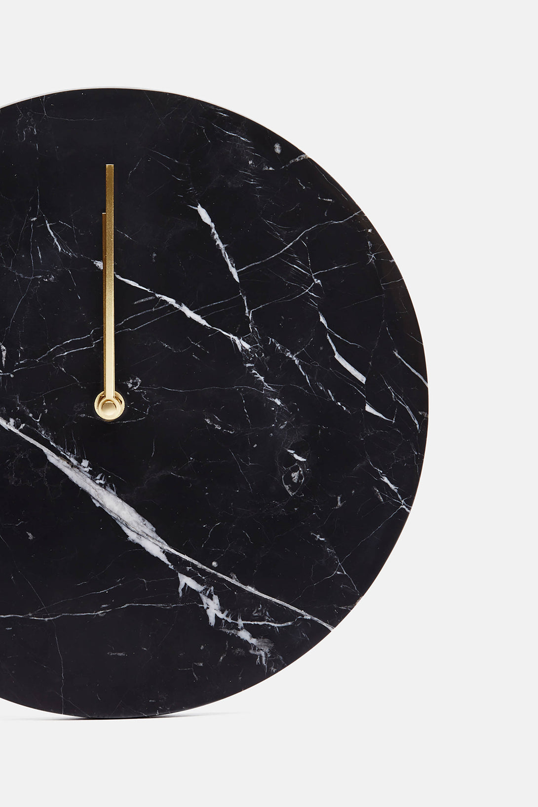 Black Marble Wall Clock with Brass Hands The Line