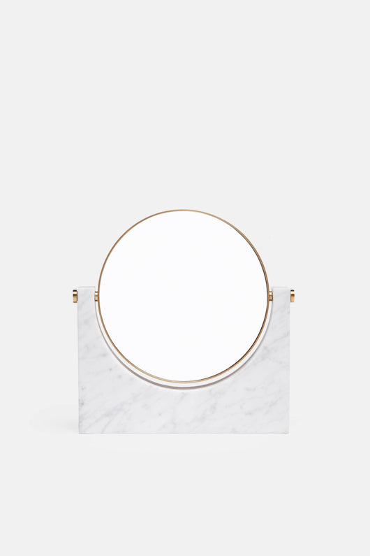 Tabletop Mirror w/Magnifying Option - White Marble