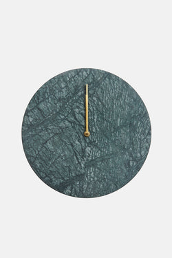 Green Marble Wall Clock with Brass Hands