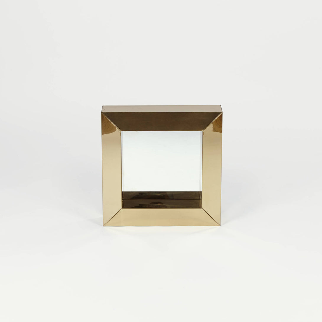 Monumental Brass Cube Mirror by Curtis Jere