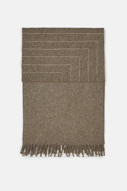 Stella Lines Square Embroidered Blanket - Grey/Cream