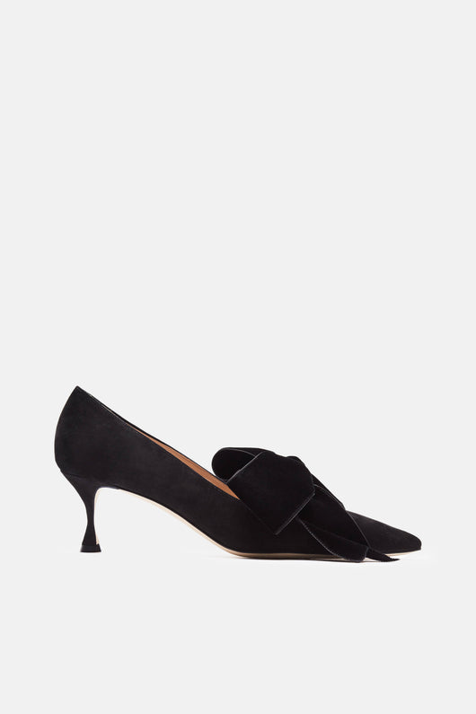 Serba Pump - Black Suede/Velvet Bow