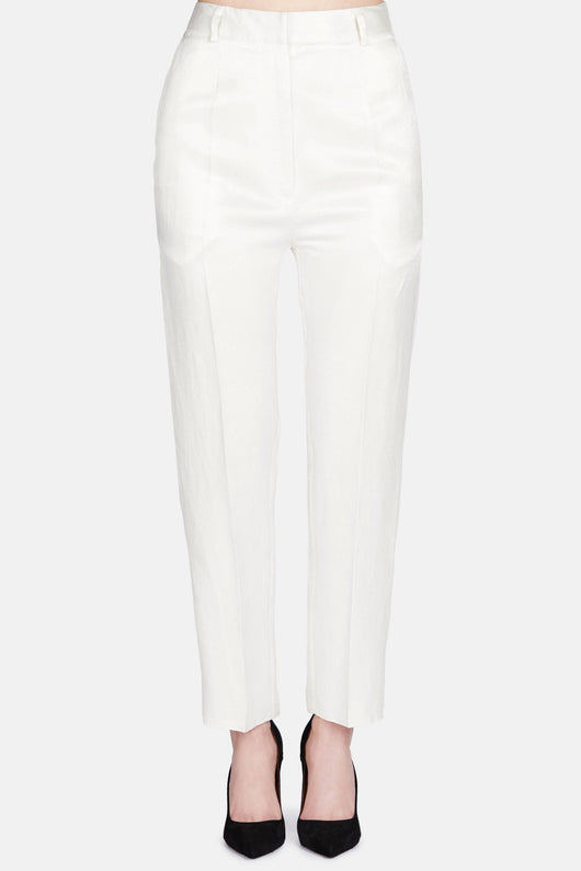 Textured Viscose Trouser - Off White