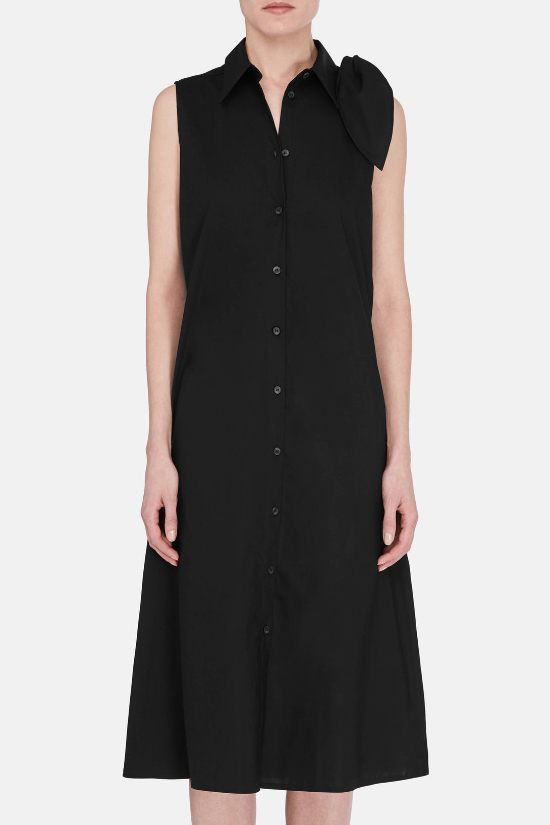 Shoulder Tie Dress - Black