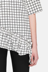 Graphic Ruffled Blouse - White