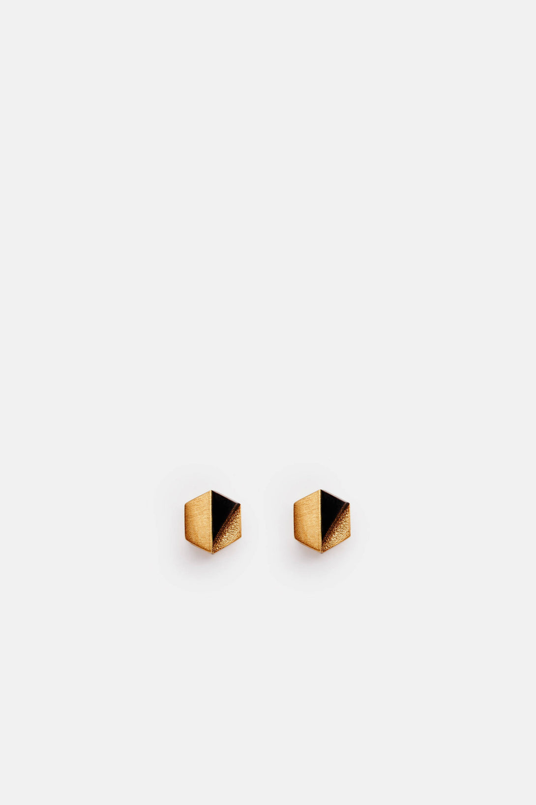 Decimal Earrings - 18K Gold Plated Brass with Onyx