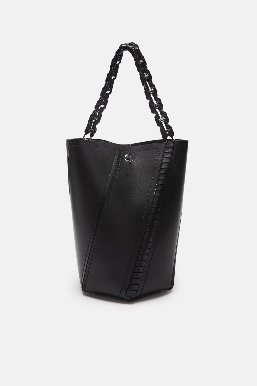Medium Hex Whipstitch Bucket Bag - Black