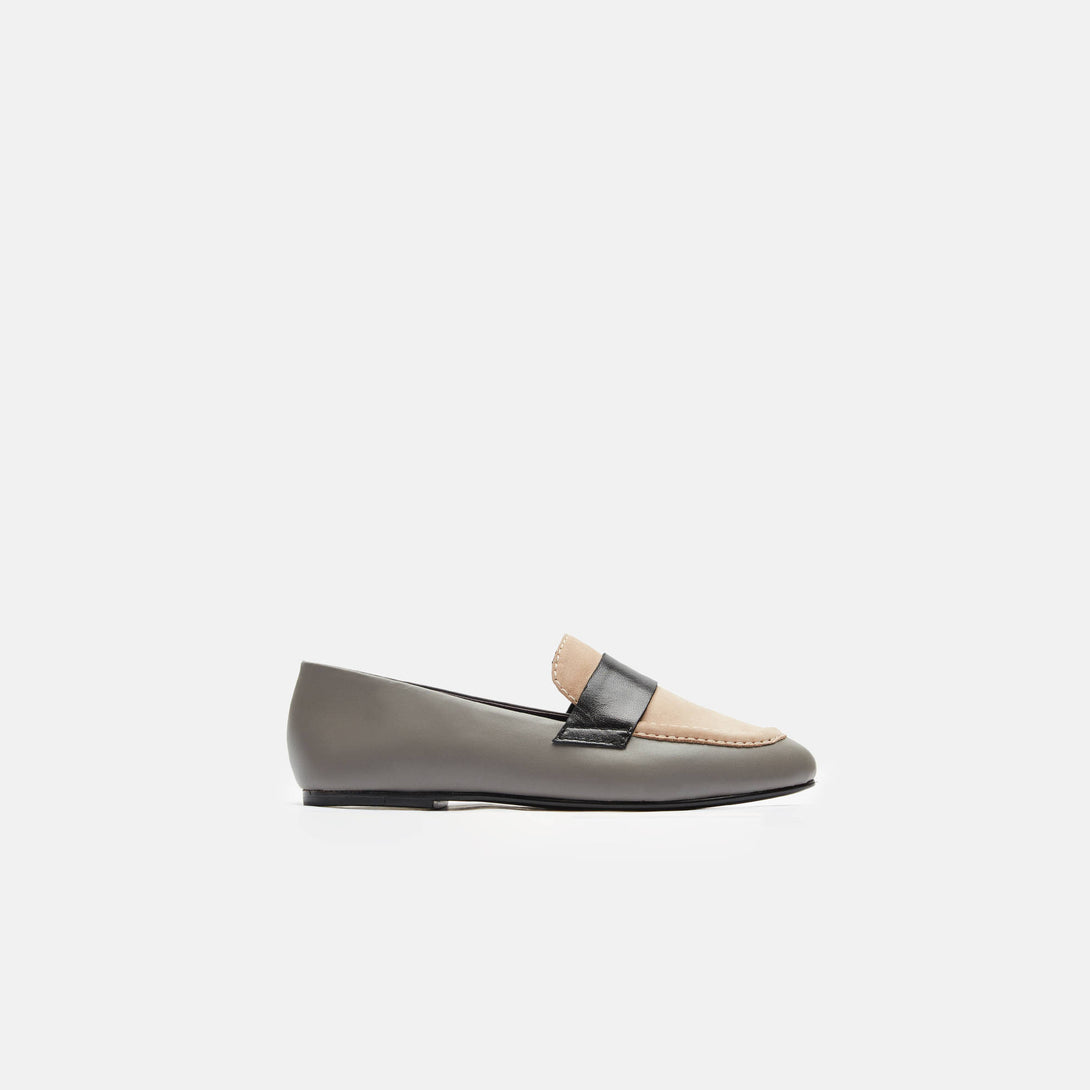 Claude Penny Loafer - Dove Grey/Nude/Black