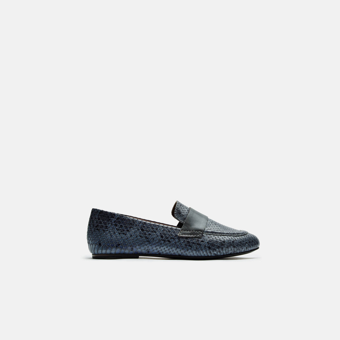 Claude Loafer with Band - Ink Blue Embossed Snake/Lead Band