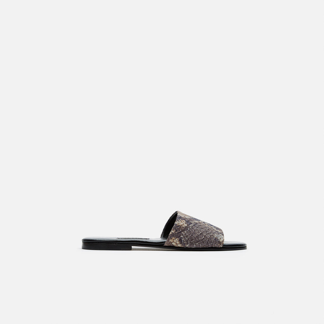 Roma II Sandal - Brown Embossed Snake