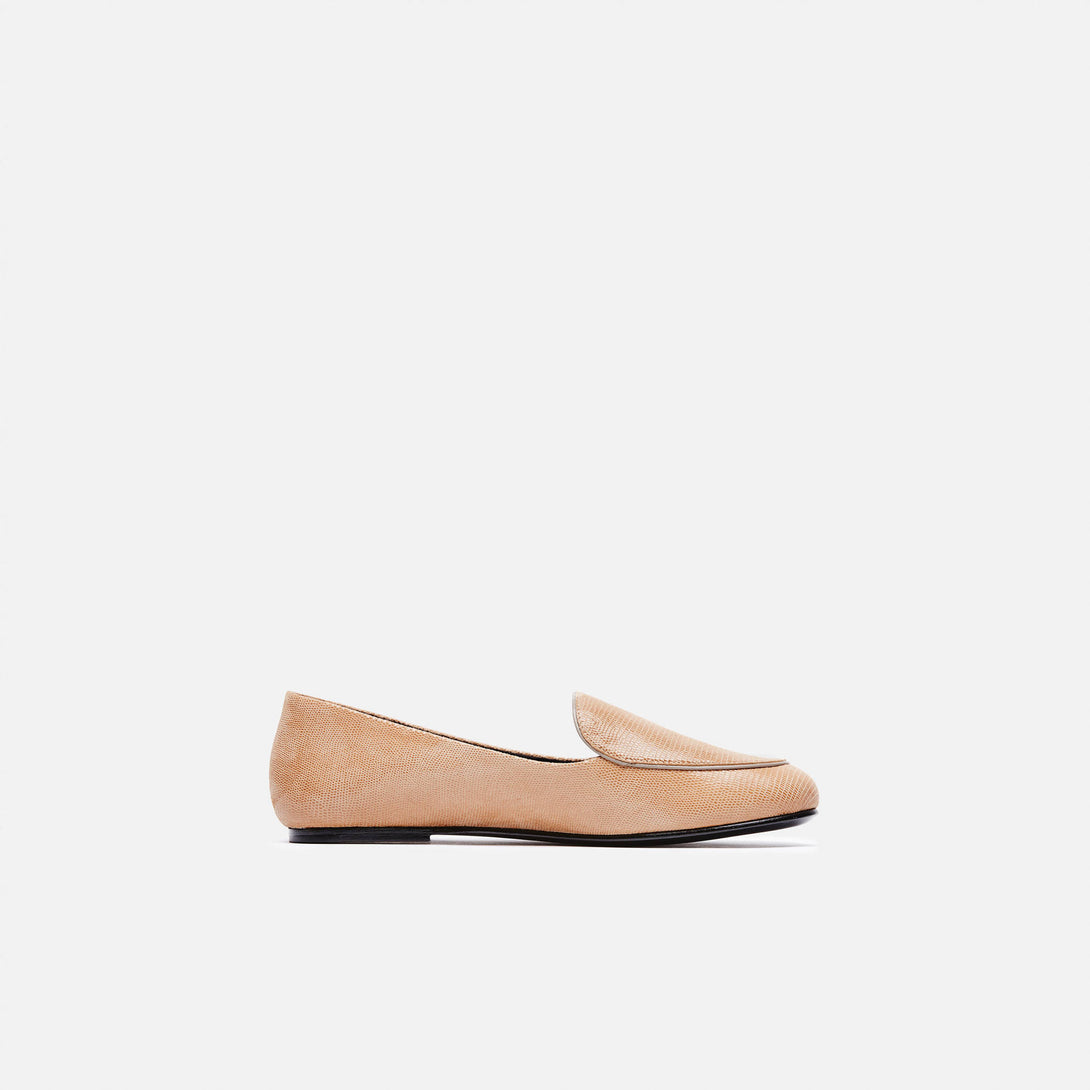 Liza Loafer - Tan Embossed Lizard Lamb/Taupe Calf Leather