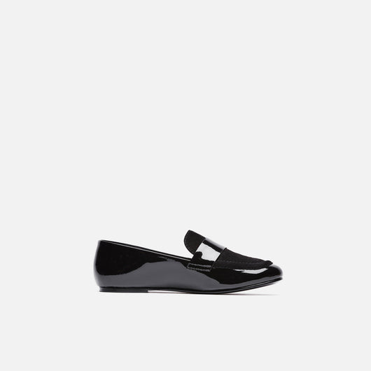 Claude Loafer with Band - Black Patent Calf/Black Kid Suede