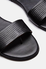 Roma I Sandal - Black Embossed