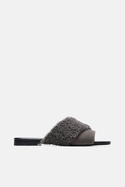 Yasmin Slide - Grey Shearling