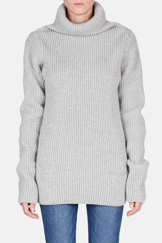 Long Pullover with Open Sleeves - Grey
