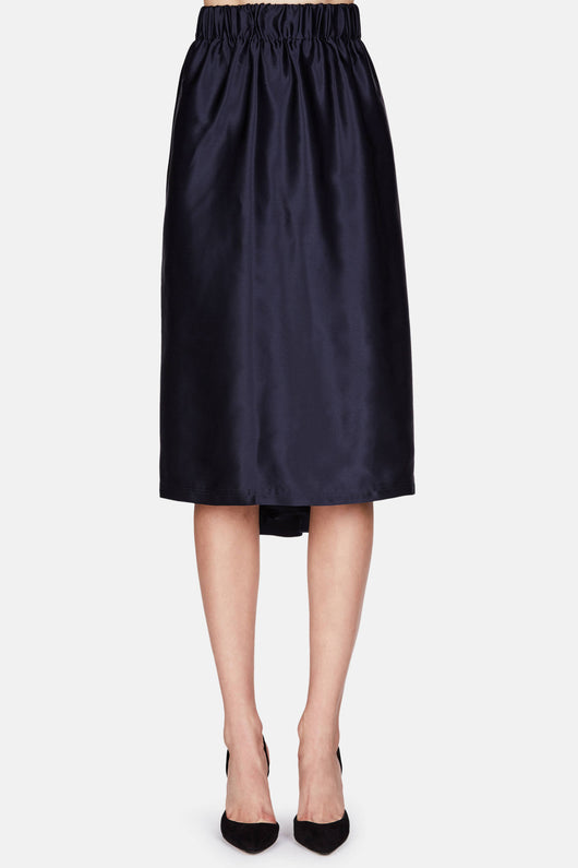 Silk Satin Skirt - Navy