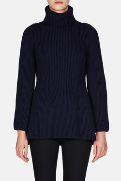 Chunky Shaped Turtleneck - Navy Blue