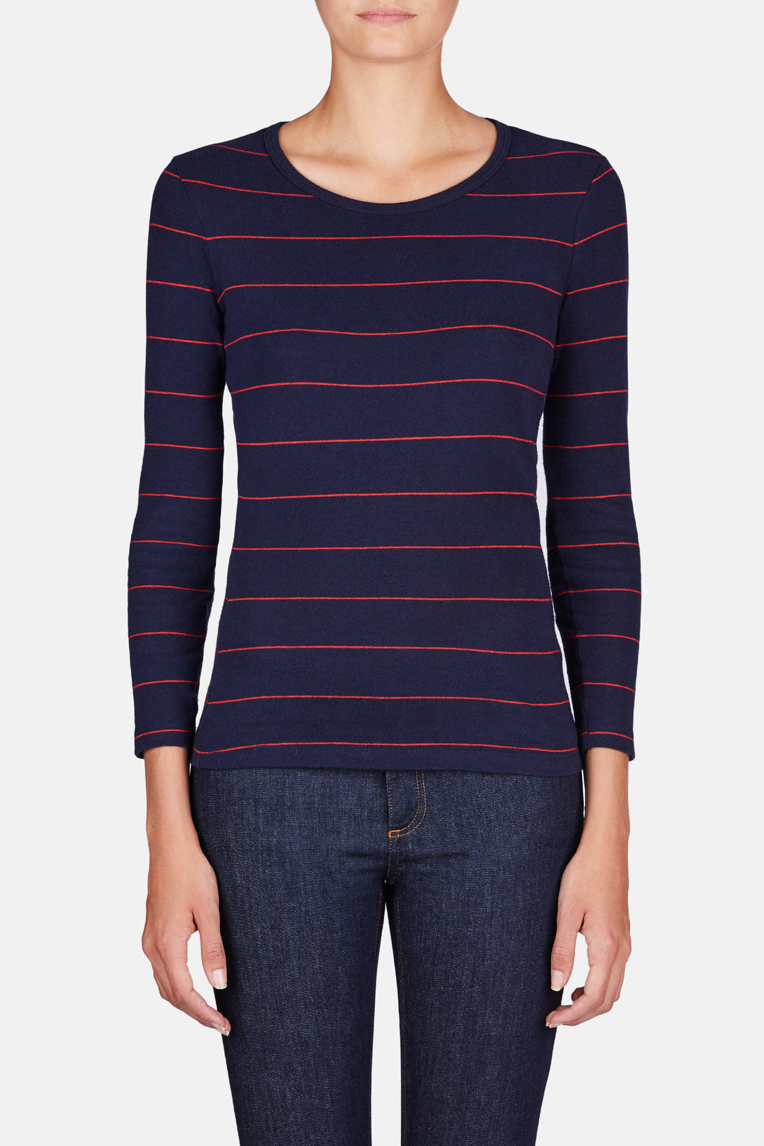 The Jacklyn Long Sleeve Tee - Navy/Red