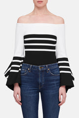 Off The Shoulder Scarf Hem Top - Black/White