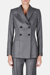 Junon Double Breasted Jacket - Grey Pinstripe