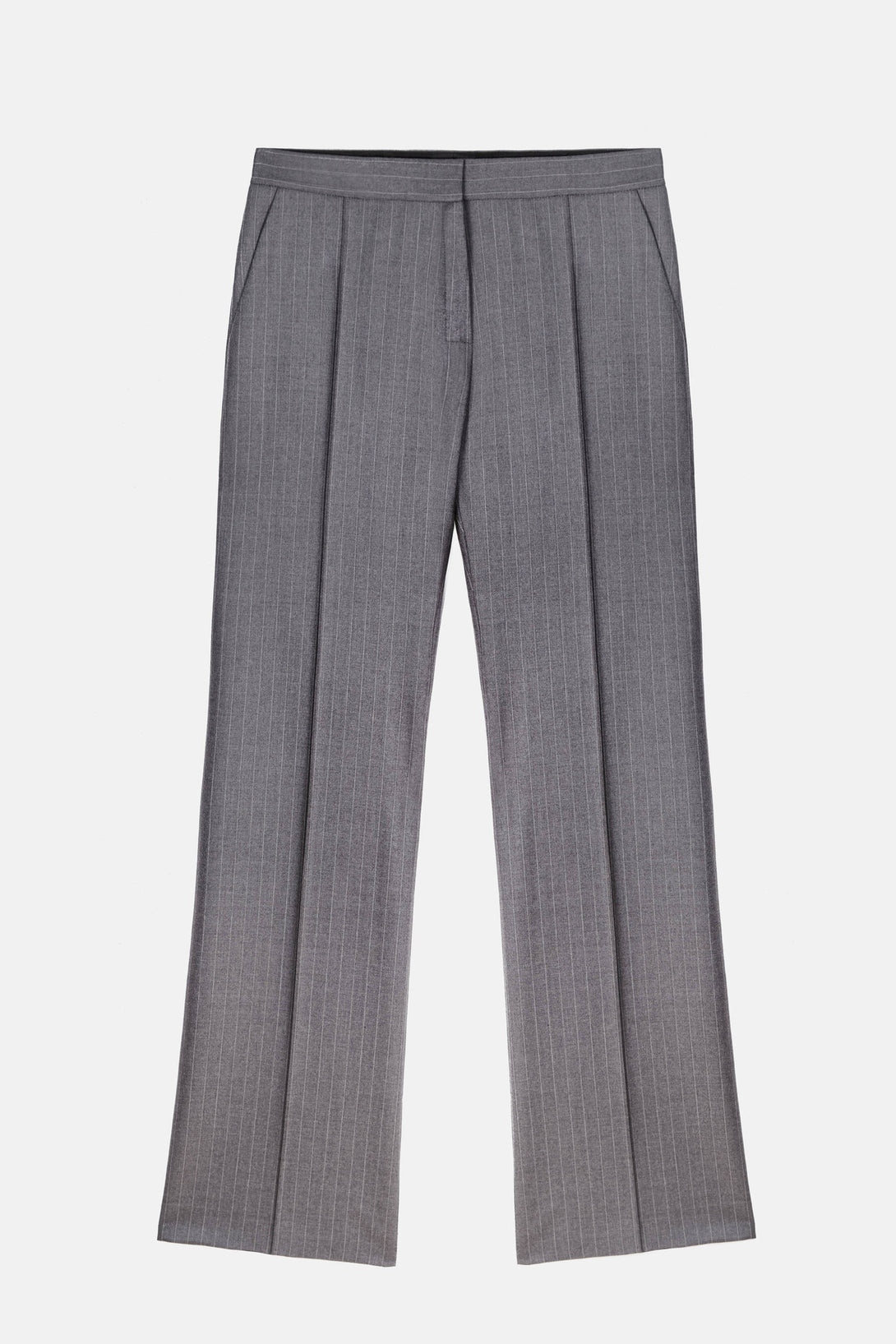 Machiavel Flared Pant - Grey Pinstripe