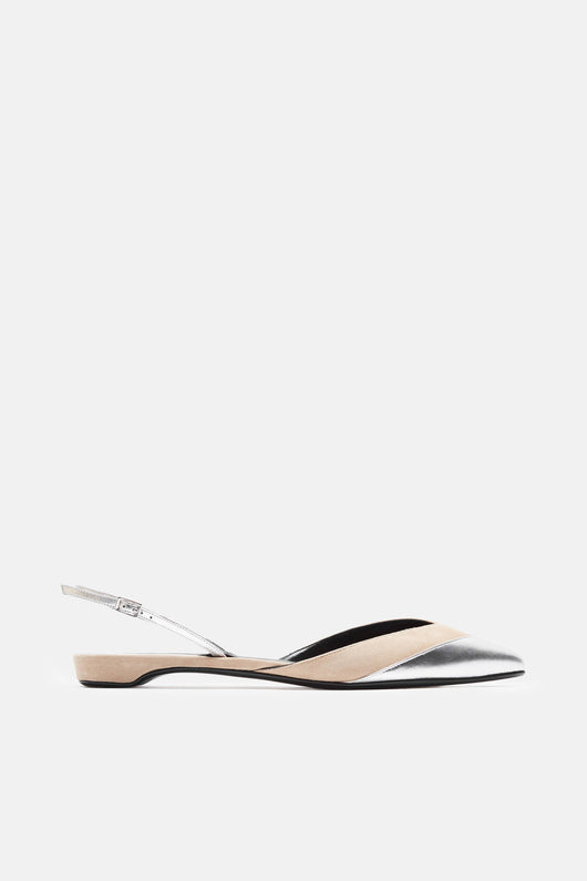 Pixie Slingback - Nude/Silver