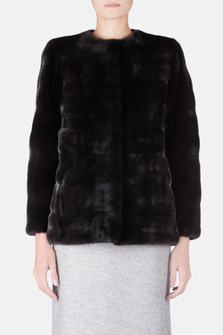 Collarless Ranch Mink Jacket w/Bracelet Sleeves