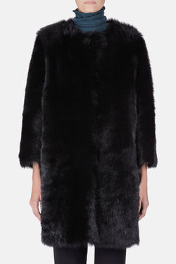 Collarless Black Dyed Toscana Nappa Back Shearling