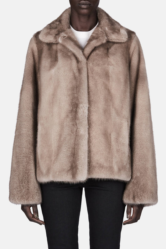 Shirt Collar Mink Jacket - Silver Blue