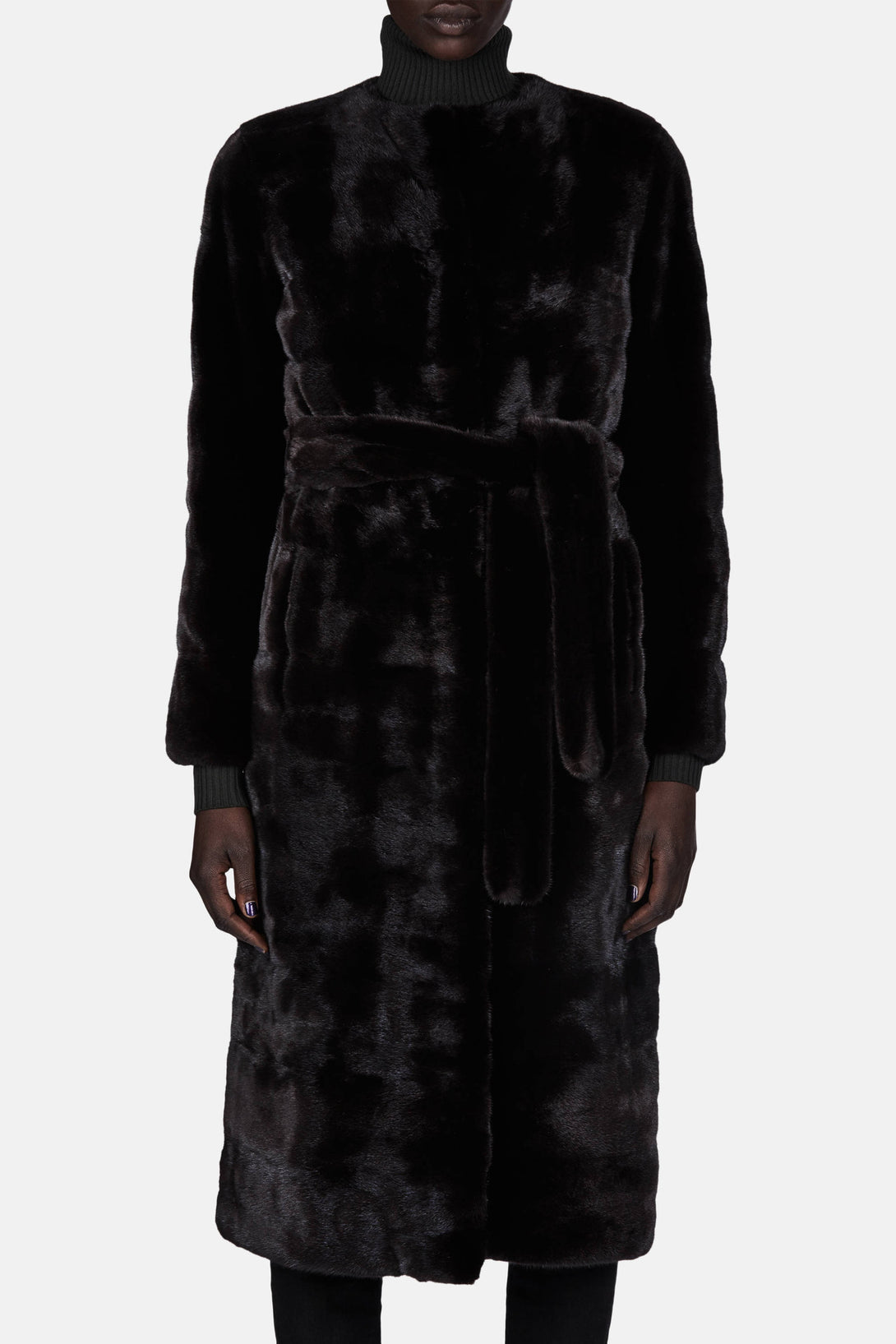 Collarless Mink Coat - Black