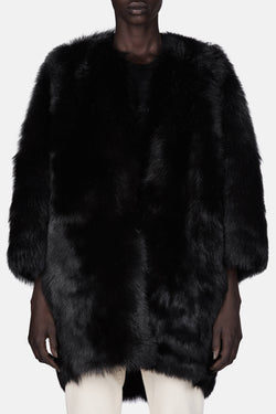Shearling Cocoon Coat - Black
