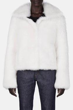 Shearling Jacket with Leather Detail - White